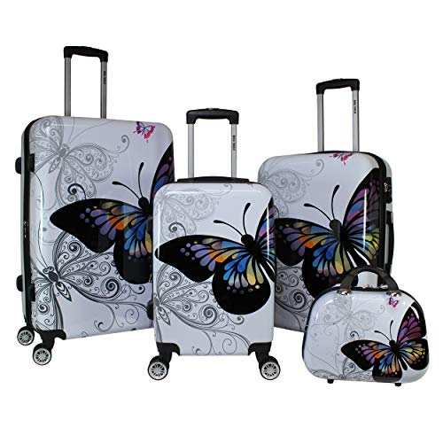 World Traveler 4-Piece Hardside Upright Spinner Luggage Set, Butterfly, One Size