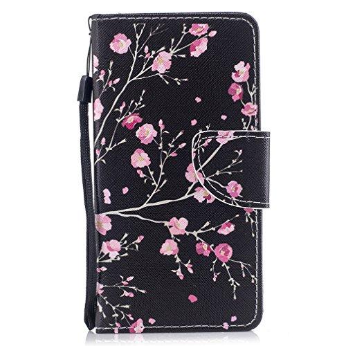 LMAZWUFULM Hülle für Samsung Galaxy J3 DUOS 2016 / SM-J320F (5,0 Zoll) PU Leder Magnet Brieftasche Lederhülle Rosa Pfirsich Muster Stent-Funktion Ledertasche Flip Cover für Galaxy J3