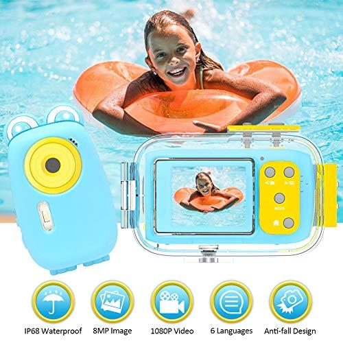 Kinderkamera Kinder Kamera Unterwasserkamera 8MP 1080P HD 2-Zoll-Display Fotoapparat Kinder mit weicher Silikonschutzhülle für Mädchen Jungen, Blau
