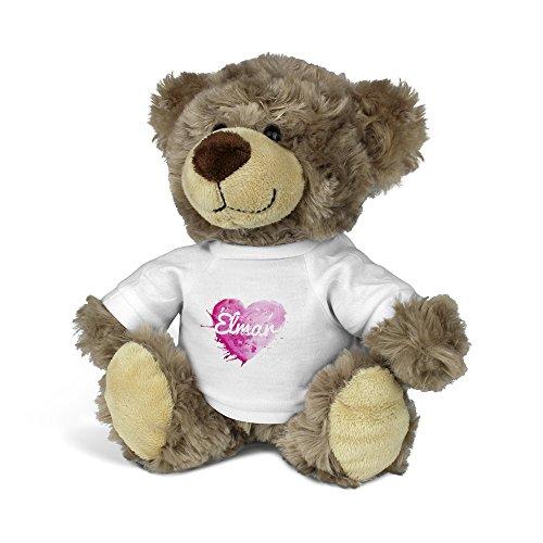 printplanet® Teddybär mit Namen Elmar - Kuscheltier Teddy mit Design Painted Heart
