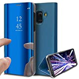 COTDINFOR Galaxy J8 2018 Coque Ultra Mince Plating Mirror Makeup Magnétique Coque Clear View Folio...