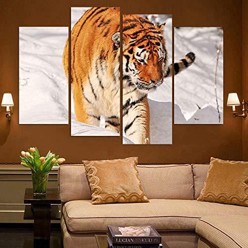 WSNDGWS Home Decoratie Quad Tijger Dier Hd Decoratieve Schilderij Zonder Beeld Frame 60x60cmx3 B5