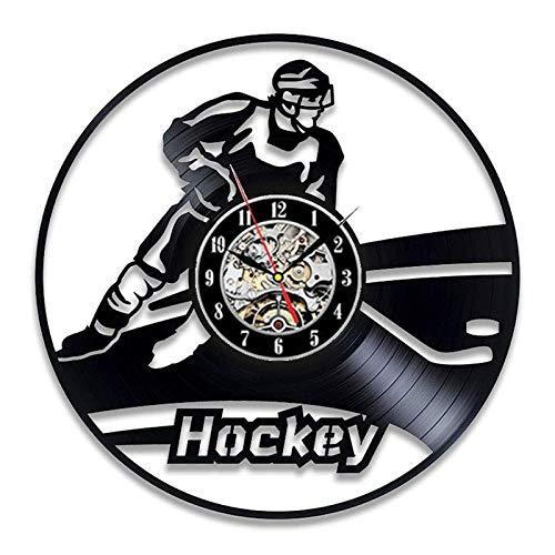 """PDXGZ Wanduhr Aus Vinyl Schallplattenuhr """"Ice Hockey Uhr Wanddeko Vintage-Uhr Wand-Dekoration Retro-Uhr, Wohnzimmer Dekoration Sport Hängen Uhr Wohnzimmer Hallendekoration,D"""