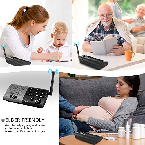 Hosmart Full Duplex Wireless Intercom System Real Time, Two -Way Communication, with DECT_6.0 Technology for Home and Office,Hands Free, Portable intercom, with Crystal Clear Sound, 1000 feet Range