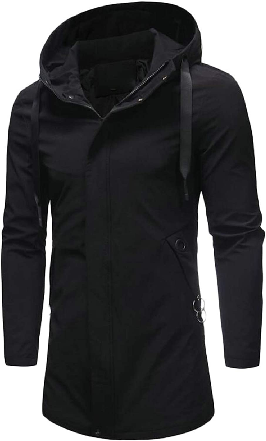 c43e485e061 Men's Zip Hooded Windproof Outwear Mid Long Slim Trench Trench Trench Coat  312d54