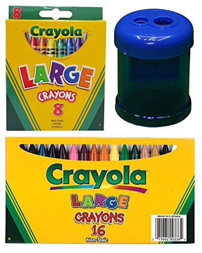 Crayola Jumbo Crayons, Assorted Colors, Great Toddler Crayons, 16Count (Large Crayons Bundle)