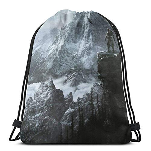 Beautiful home 1 Skyrim Mountain 3D Print Drawstring Backpack Rucksack Shoulder Bags Gym Bag for Adult 16.9