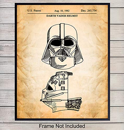 Darth Vader Helmet Star Wars Wall Art Decor Patent Print - 8x10 Vintage Home Decoration Poster for Living, Family or Game Room, Boy or Teen Bedroom, Apartment - Gift for R2D2, Stormtrooper, C3P0 Fans
