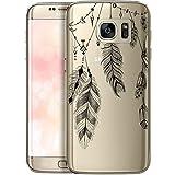 QULT Carcasa para Móvil Compatible con Funda Samsung Galaxy S7 Silicona Atrapasueños Transparente Suave Bumper Teléfono Caso para Samsung S7 con Dibujo Primavera