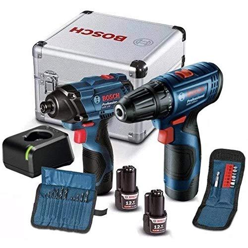 Combo 12V Bosch Chave de Impacto GDR 120-LI + Parafusadeira GSR 120-LI, 2 Baterias, Carregador BIVOLT, Kit de Acessórios em Maleta de alumínio