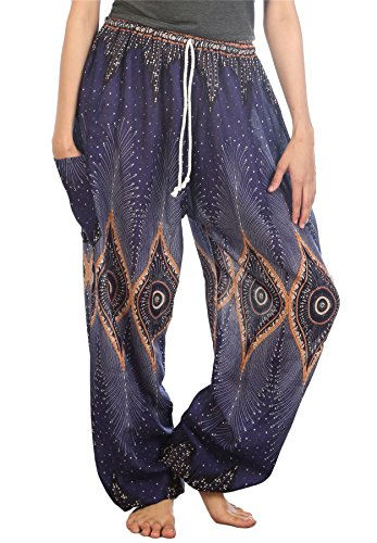 LOFBAZ Harem Pants for Women Yoga Boho Sweatpants Womens Hippie Bohemian Clothing Palazzo Beach Clothes Casual Pajama Diamond Blue Large