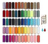 Filo da Cucito 60 Colori Kit di Cucito 220m per Bobine 100% Poliestere Colorato, Setoso e Resistente con 16 Aghi e 2 Infila Adatte per Cucire a Macchina e Cucire a Mano