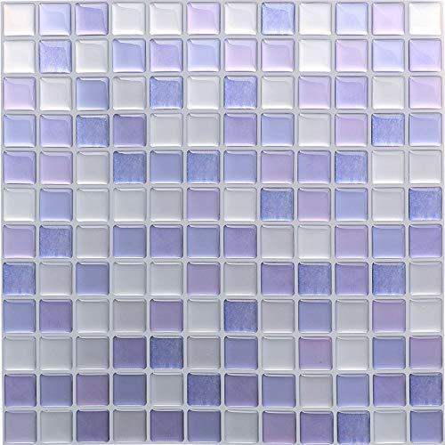 HyFanStr - Pegatinas de mosaico 3D, autoadhesivas para azulejos de cocina y baño, 24 x 23 cm (paquete de 4), pvc, Morado, 9.29