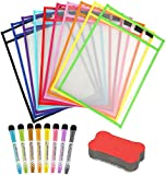 Uhat Reusable Dry Erase Pockets Assorted Colors Sheet Protectors Oversized 10 *13 Inches Write and Wipe Clean...