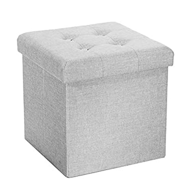 Seville Classics Foldable Tufted Storage Ottoman, Alpine Gray