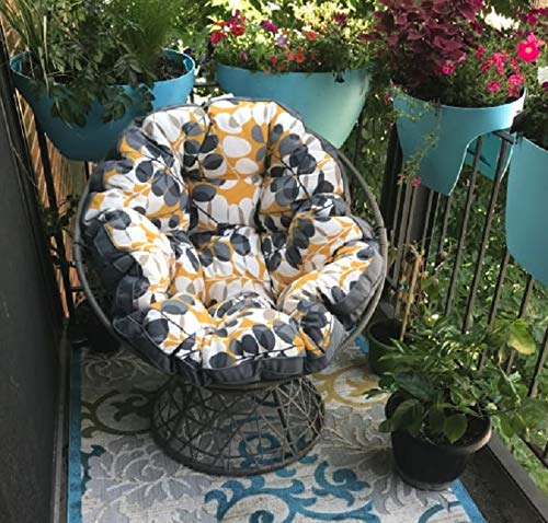 Indoor Outdoor Resin Wicker Papasan Chair with Gray Floral Cushion Lounge Furniture