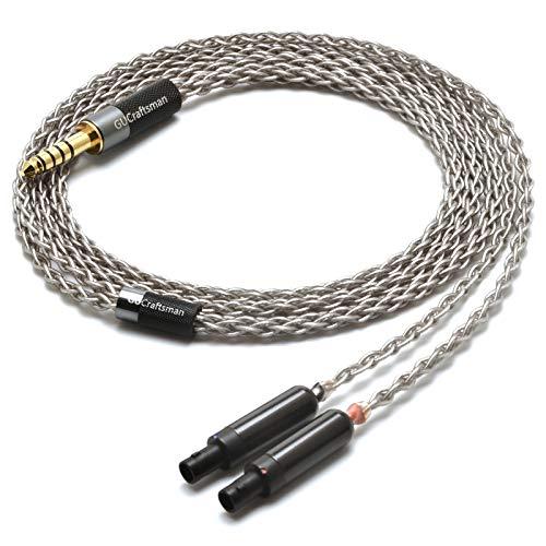 GUCraftsman 6N Single Crystal Silver Upgrade Headphones Cable 4Pin XLR/2.5mm/4.4mm Balance Headphone Upgrade Cable for SENNHEISER HD800 HD800s HD820 Cascade (4.4mm Plug)