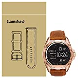 Lamshaw Leather Strap Replacement Band for Michael Kors Smartwatch Strap (Leather-Brown)