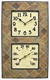 Chaney Instruments Indoor/Outdoor Clock/Thermometer Combo, Resin/Slate