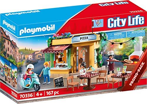PLAYMOBIL City Life 70336 Pizzeria mit Gartenrestaurant, Mit Lichteffekten, Ab 4 Jahren