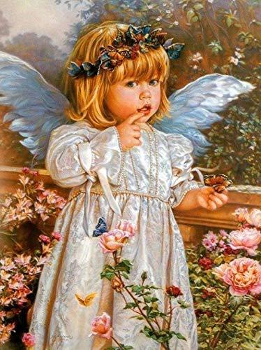 FSMYQH Kit de Pintura de Bricolaje por números con Pinceles y Pinturas acrílicas Regalos de cumpleaños para Adultos Niños Pintura para Principiantes en Lienzo 40 * 50 cm - Bebé ángel