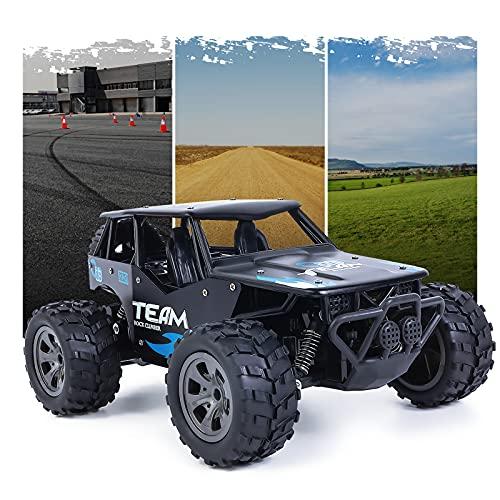 Vubkkty Coche teledirigido todoterreno para niños, escala 1:18, con marco de aleación de aluminio, 2,4 GHz, 20 km/h, coche de juguete con dos baterías recargables para niños, color negro
