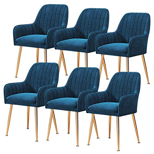 Set of 6 Elegant Dining Chair Upholstered Velvet Accent Chair Modern Leisure Armchair For Living Room Bedroom Home Office Cafe Restaurant (Color : Navy Blue, Size : Golden Legs)