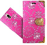 Wiko View Go Case, CaseExpert Bling Diamond Flowers Leather Kickstand Flip Wallet Bag Case Cover for Wiko View Go