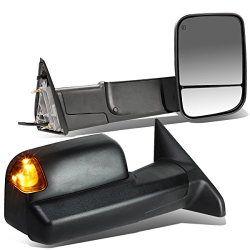 Replacement for Dodge RAM Pair of Black Powered + Heated Glass + Signal + Foldable Side Towing Mirrors