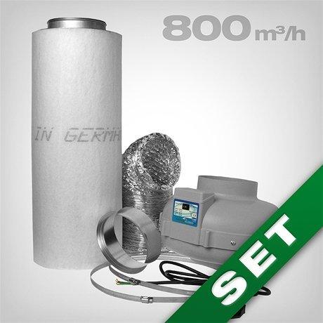Prima Klima Aktivkohlefilter Lüftungsset inkl. Rohrventilator 420/800 m³/h AKF Belüftungsset für Growbox/Homebox