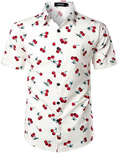 JOGAL Men's Cotton Button Down Short Sleeve Hawaiian Shirt (White, Medium)