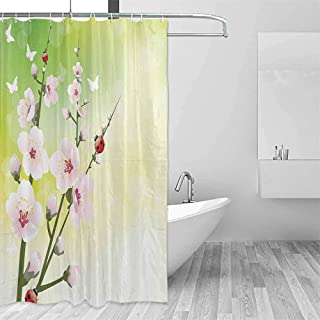 Lohebhuic Ladybugs Decorations 3D Printed Shower Curtain Blooming Flowers in The Field and Ladybugs Japanese Leaf Petals Nature Graphic Hotel Quality Machine Washable W48 x L72 Inch Green Pink