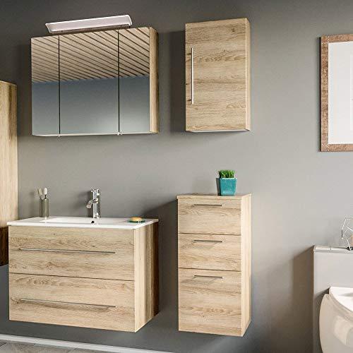 Lomadox - Juego completo de muebles de baño  Roble claro con estructura  Armario de lavabo de 80 cm con lavabo de cerámica  Armario inferior y armario colgante