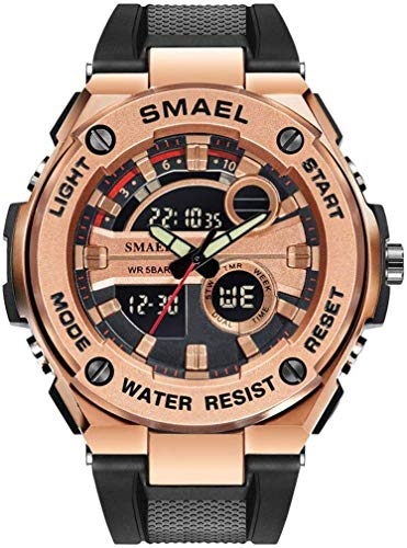 WXDP Elektronisch kwartshorloge voor heren, met digitaal dual display, wekker/stopwatch/luminous/multifunctioneel horloge