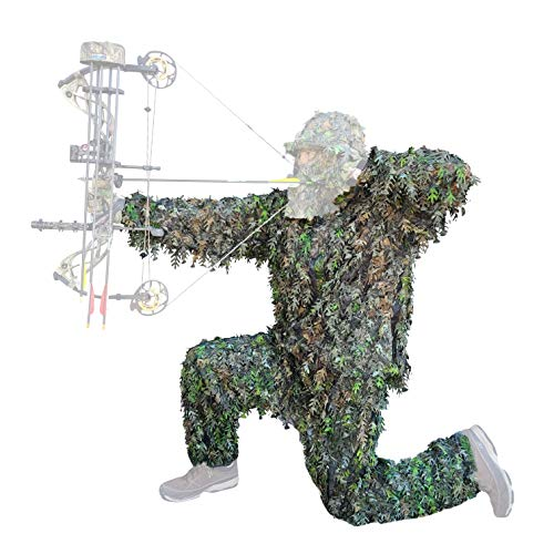 QuikCamo 3D Leafy Camo Suit, NTWF Mossy Oak Obsession Camo for Turkey Hunting, Airsoft, Paintball, Tactical Birdwatching and Wildlife Photography Ghillie Suit, Wear Over Clothing (Large XL)