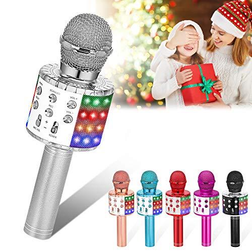 Verkstar Wireless Microphone, Bluetooth Karaoke Speaker Mic Toy for Kids Adults Birthday with LED...