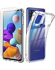Reshias Funda para Samsung A21s con [2 Pack] Cristal Templado Protector de Pantalla, Suave TPU Transparente Gel Silicona Anti-caída Protectora Carcasa para Samsung Galaxy A21s (6,5 Pulgadas)