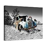 Car Picture Canvas Wall Art: Rusty Truck Art Old Blue Car Print Artwork for Bathroom (16''W x 12''H,Multi-Sized)