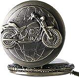 YOUZYHG co.,ltd Reloj de Bolsillo de Bronce 3D, diseño de Motocicleta, Reloj de Bolsillo de Cuarzo para Hombres, Cadena para Hombres, Bicicleta, Motocicleta, Colgante Vintage