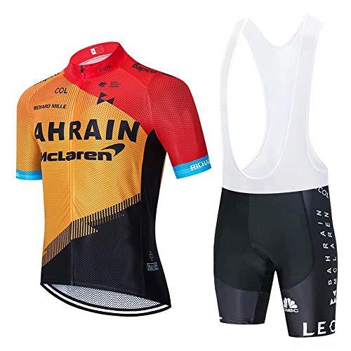 CQXMM Abbigliamento Ciclismo da Uomo,Maglia Manica Corta+Pantaloncini,Cuscino Gel 3D,Ciclismo Moda Set Completo,Ciclismo Ciclismo Jerseys per Uomo,Ad Asciugatura Rapida Traspirante