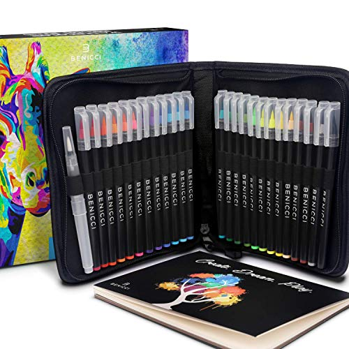 Artist Watercolor Brush Pens Set of 26 – Vibrant Markers with Bonus 1 Water Brush Pen – 25 Colors Flexible Nylon Tips – Paper Pad & Carry Case – Non-Toxic Safe & Fun Watercolors in Gift Ready Package