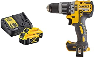DEWALT B DCB184 5.0ah 18v XR Lithium Ion Battery Twin Pack + DCB115 Charger, Yellow & DCD796N 18v XR Li-Ion Brushless Comp...