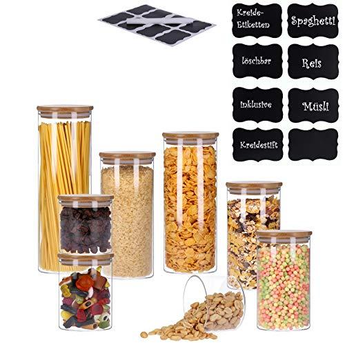 Vorratsdosen aus Glas mit Bambusdeckel, Vorratsgläser, Glasbehälter | inkl. 8 Kreideetiketten und Stift | luftdicht, Spülmaschinenfest, Mottensicher (8er Set)
