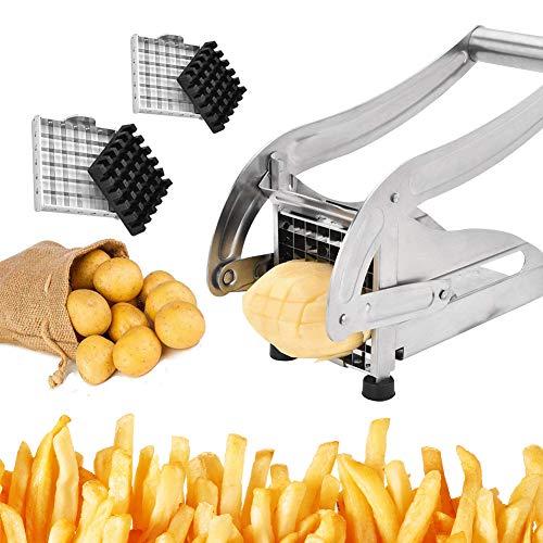 TWSOUL Pommes Frites Schneider Pommesschneider Edelstahl Kartoffelschneider Gemüseschneider mit 2...
