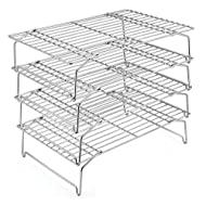 4-Tier Cooling Rack Set, P&P CHEF Stainless Steel Stackable Baking Cooking Racks for Cooling Roasting Cooking, Raised & Folding Feet, Oven & Dishwasher Safe - 15''x10''