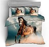 ZHYINA Juego de ropa de cama 3D con diseño de caballo, funda nórdica de 135 x 200 cm, funda de almohada de 80 x 80 cm, ropa de cama infantil (A6,155 x 220 cm + 75 x 50 cm x 2).