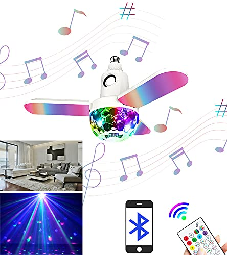 Moonpet LED Light Bulb with Projector Ball & Bluetooth Music Speaker/Dimmable Sync RGBW Color Changing with Remote ControlNO BATTERY/E27/B22 Screw Base for Home Decor Bedroom Party Wedding