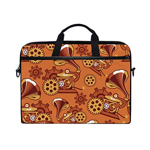 Ahomy Laptoptasche, 35,6 cm (14 Zoll), Steampunk-Mechanismus, Leinenstoff, Laptoptasche mit Schultergurt für Damen und Herren