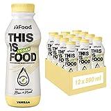 YFood Vegan Vanille | Laktose- & glutenfreier Nahrungsersatz | 26g Protein, 26 Vitamine & Mineralstoffe | Astronautennahrung - 25% des Kalorienbedarfs | Trinkmahlzeit, 12 x 500 ml | 3,00 € Pfand inkl.