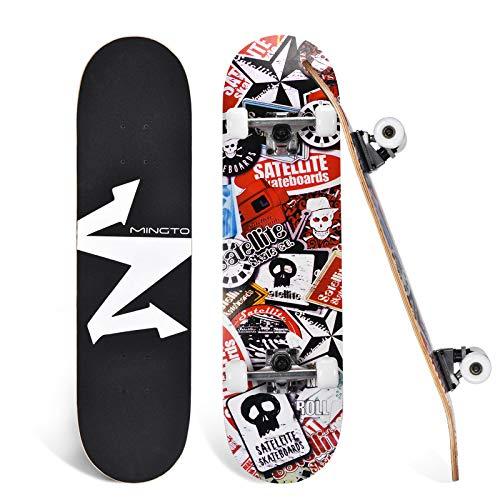 mingto Skateboard,31'x8' Complete Standard Skateboards,Double Kick Skate Board for Teens Kids...